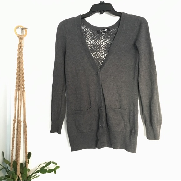 Forever 21 Sweaters - Crocheted back button up cardigan with pockets